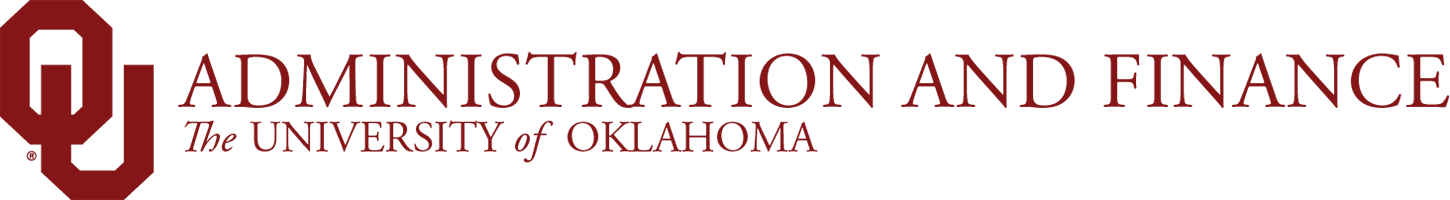 Admin and Finance, The University of Oklahoma website wordmark