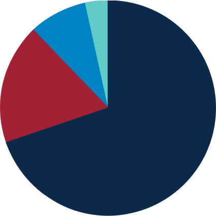 Holistic admissions pie chart comprised of the following categories: academic rigor, engagement, essay, and letter of recommendation