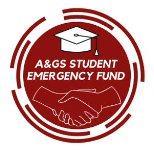 A circular illustration, in dark red and white, of a handshake, a mortarboard, and the title A&GS Student Emergency Fund.