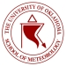 Red & White logo for the School of Meteorology, illustrating a tornado. The University of Oklahoma. School of Meteorology.