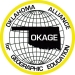 A map of Oklahoma with OKAGE on it, covering a globe mapped out in a grid, with the organization's name around the other edges of the circle. OKAGE. Oklahoma Alliance for Geographical Education.