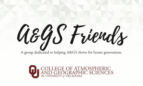 A&GS Friends Society Logo. A group dedicated to helping A&GS thrive for future generations. OU College of Atmospheric and Geographic Sciences, The University of Oklahoma.