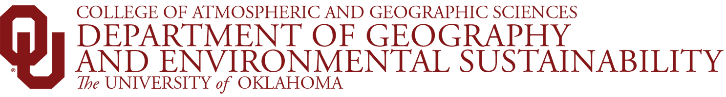 College of Atmospheric and Geographic Sciences, Department of Geography and Environmental Sustainability, The University of Oklahoma website wordmark