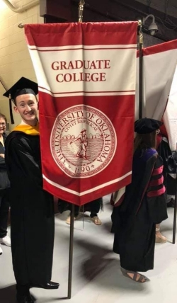 Jay Wimhurst at Spring 2019 commencement. Graduate College. The University of Oklahoma. 1890.