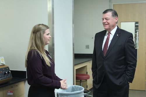 Congressman Cole Speaks with Graduate Student, Melissa Foxley
