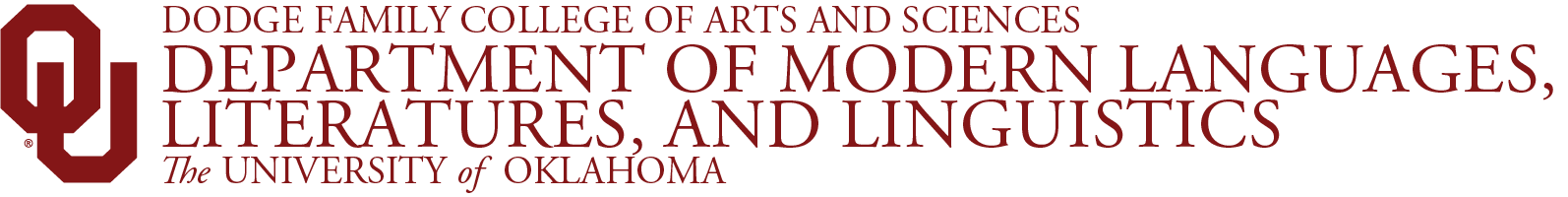 College of Arts and Sciences, Department of Modern Languages, Literatures and Linguistics, The University of Oklahoma website wordmark