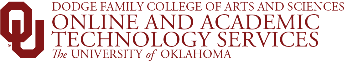 College of Arts and Sciences, Online and Academic Technology Services, The University of Oklahoma website wordmark