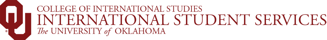 College of International Studies, International Student Services, The University of Oklahoma website wordmark
