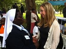 Sister Rosemary Nyirumbe with Chelsea Clinton