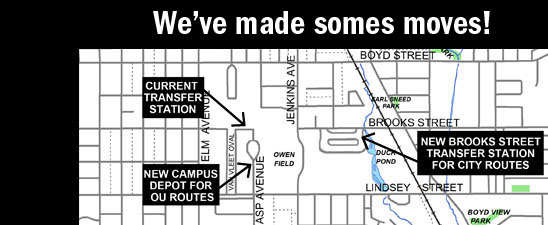 The Brooks Street Transfer Station and Campus Depot will open May 28, though construction will be ongoing at Campus Depot. Click on the map for a copy of new routes.
