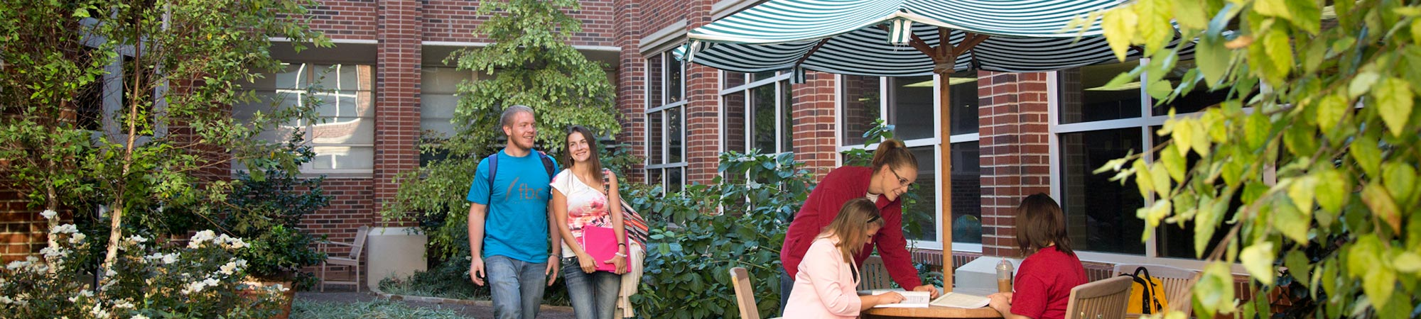 Students enjoying Collings courtyard