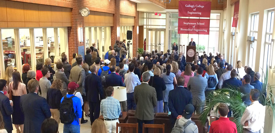 President Boren announces a historic gift to the College of Engineering in the atrium of Devon Energy Hall.