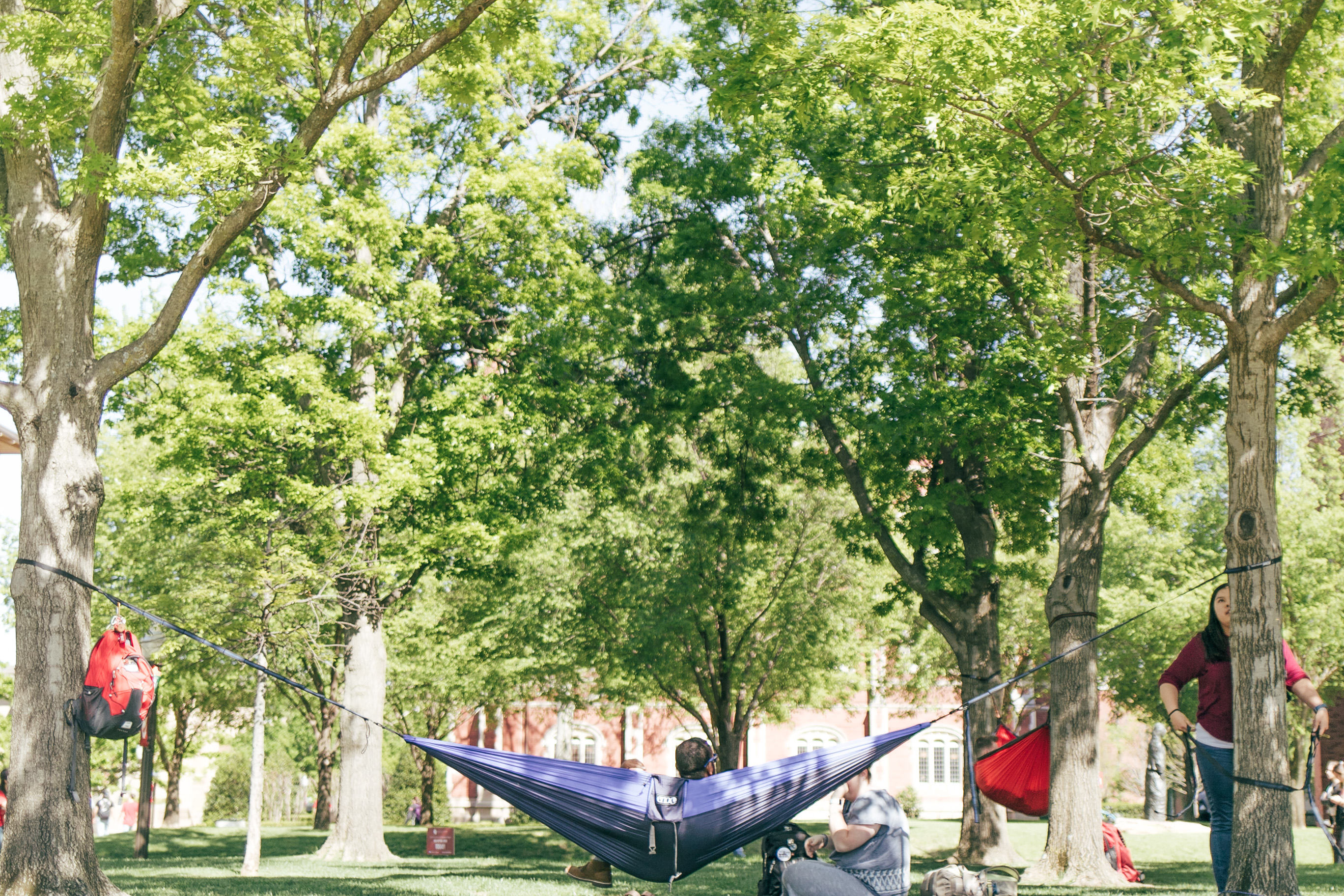 Students hanging out on the south oval on OU campus