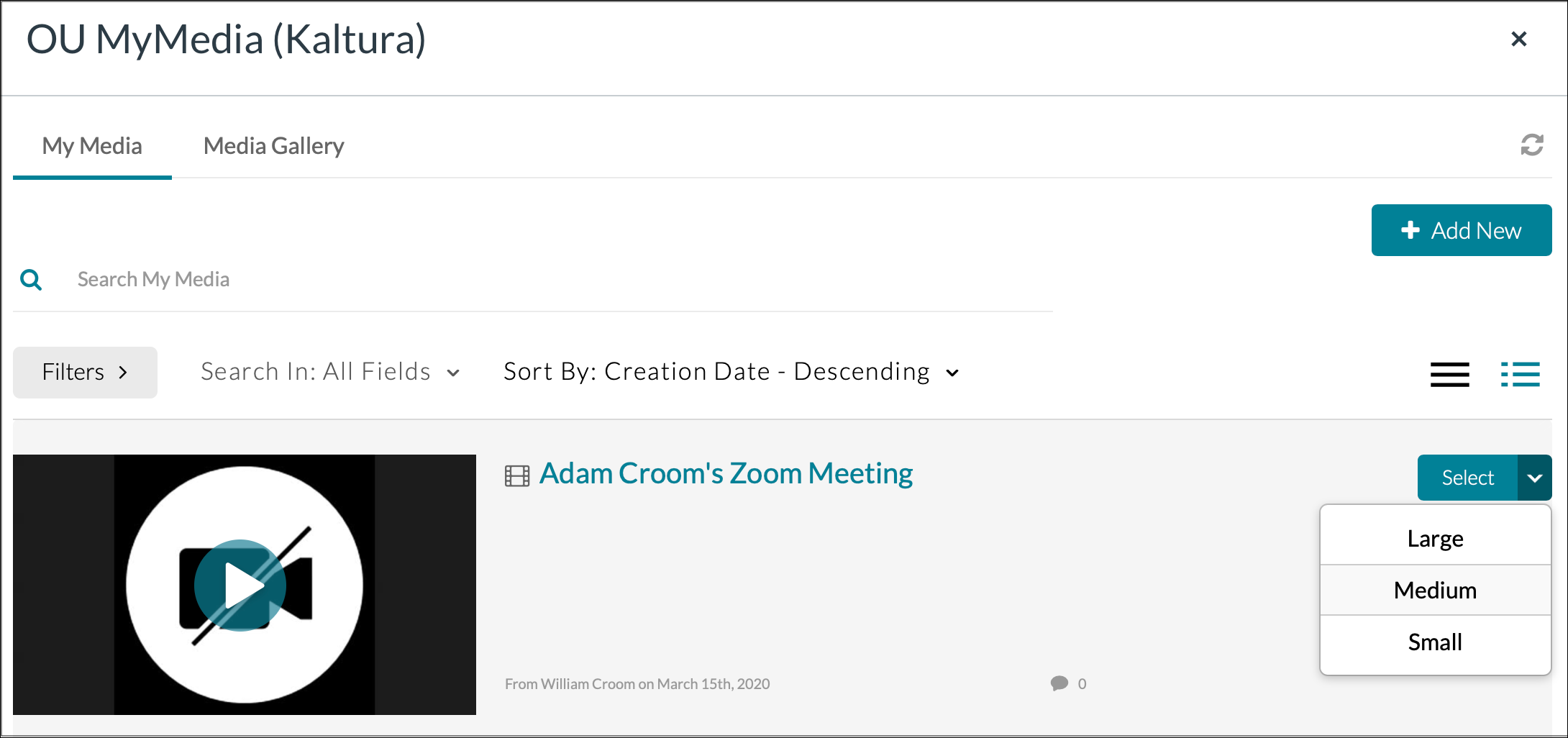 Finding a Zoom Meeting in Canvas