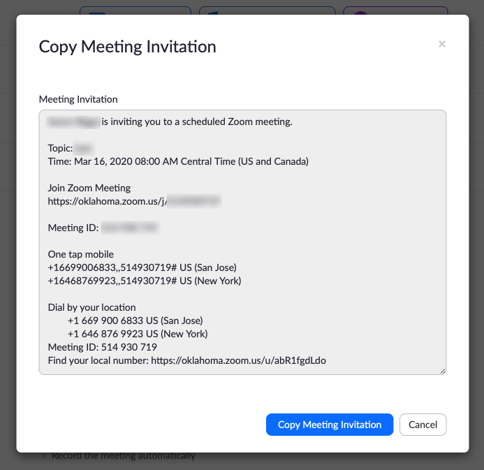 Zoom meeting invitation information