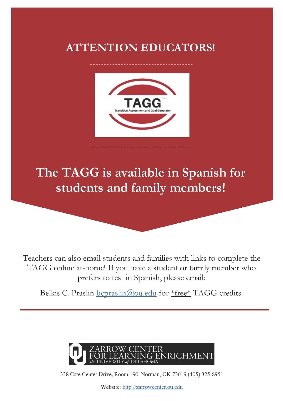 TAGG Spanish translation is available at tagg.ou.edu/tagg