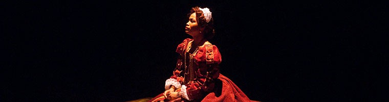"Student performs in dramatic play ""Mary Stuart"""