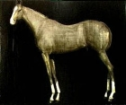 image of a horse, black background, oil on canvas