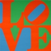 screenprint, love with lo on top of ve background switches between green and blue