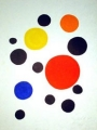 various bubbles on white background, one red, one yellow, one blue and one orange bubble, the rest are black, lithograph