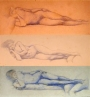 nude study, drawing, three images