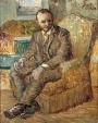 van gogh, self portrait, muted, neutral colors with hint of green/blue, sitting in a chair
