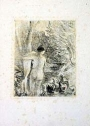 nude female, backside, swans next to her, litho