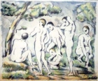 people bathing in water surrounded by forest