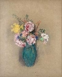 teal vase, carnations inside, neutral background, painting