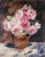 painting, roses in brown vase sitting on a table with a white table cloth