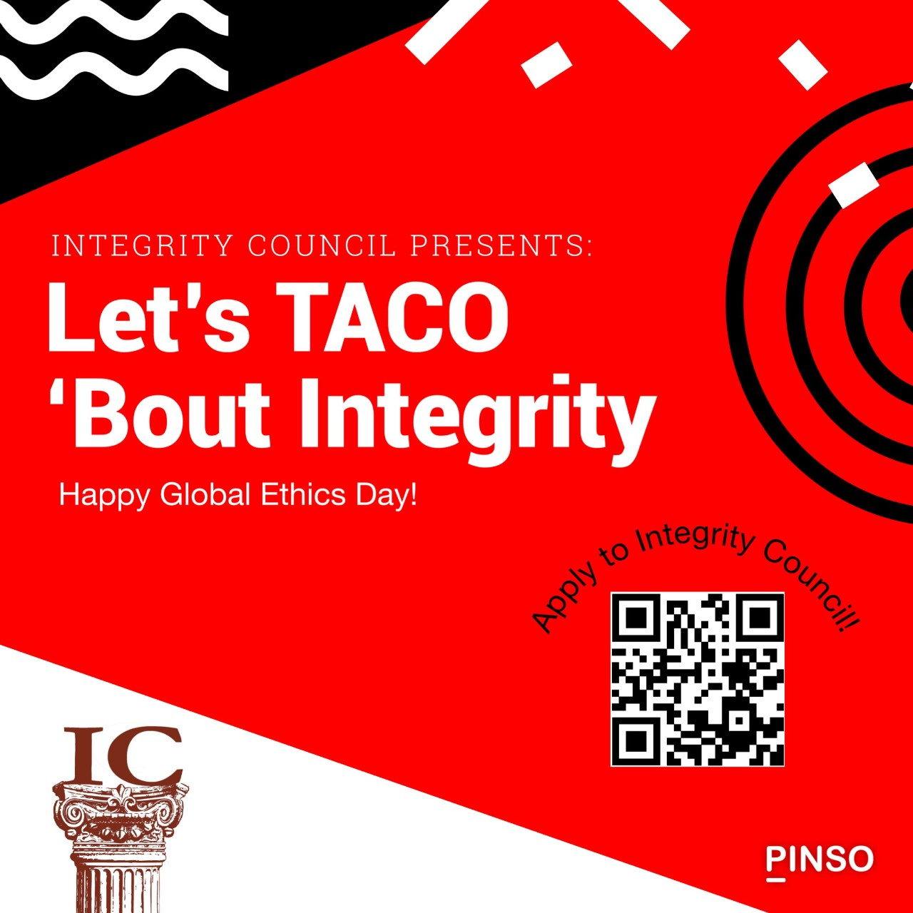 Flier for the Taco 'Bout Integrity event