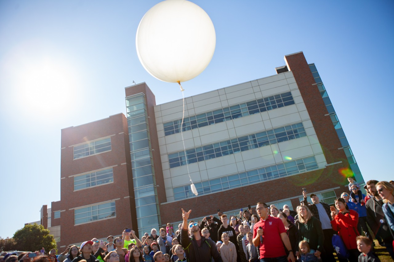 A weather balloon is launched in front of a crowd at the 2019 National Weather Festival.  (Photo courtesy of NOAA)