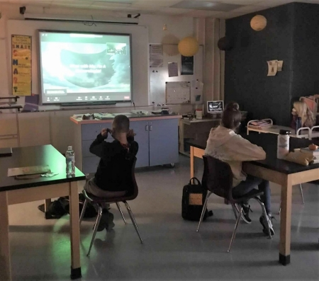 5th graders from Forest City Schools in Iowa enjoy a virtual visit from an NWC meteorologist. Photo Credit: Tammy Egesdal.