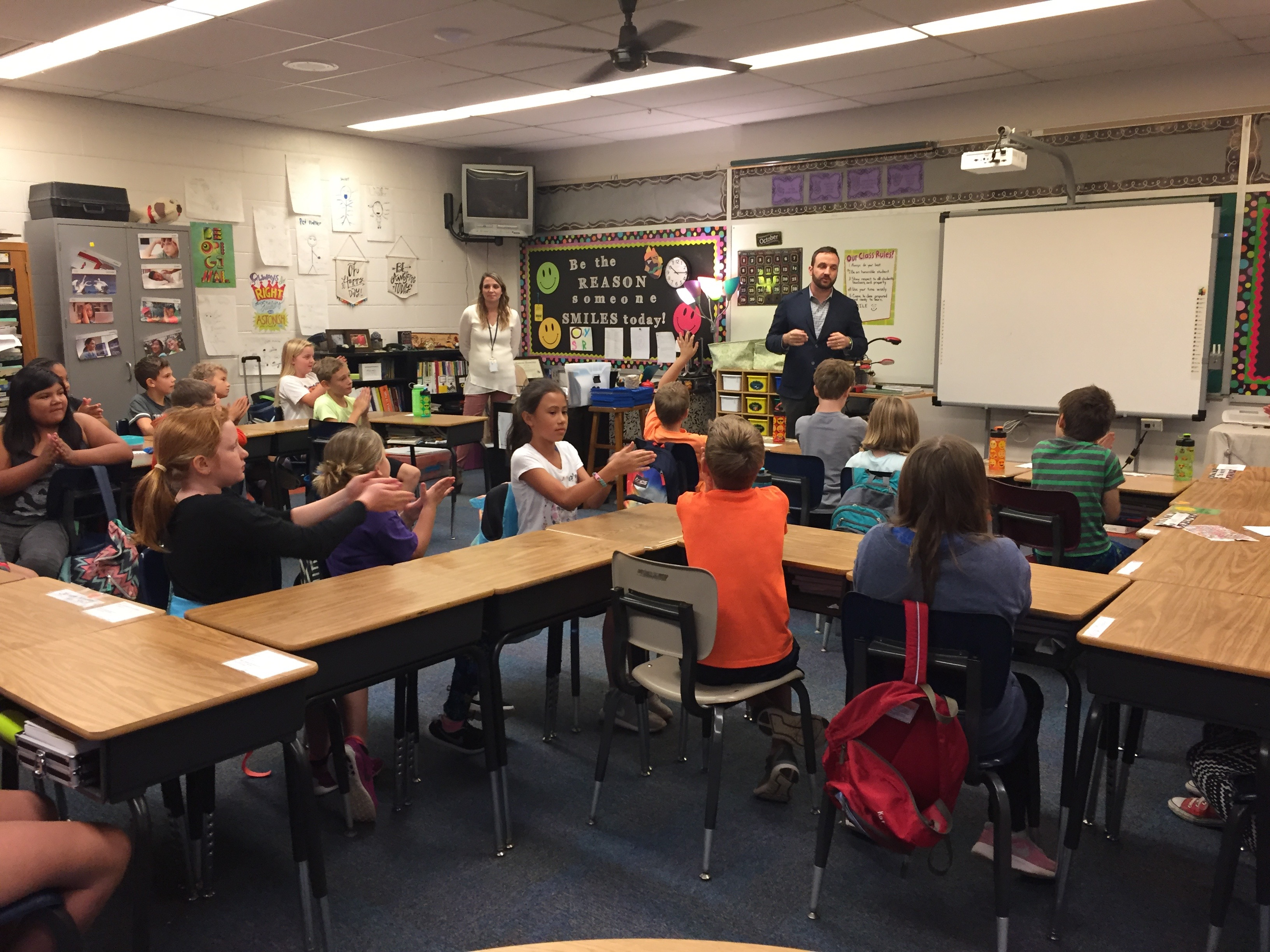 Dr. Jake Walter visits a classroom
