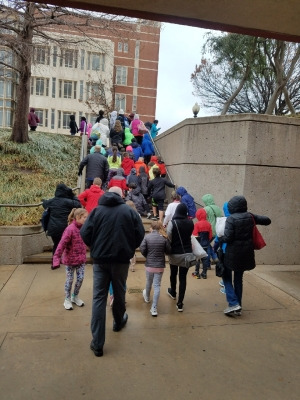 Students leaving after the Geology Experience