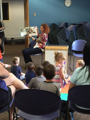 Stacey at Library Storytime