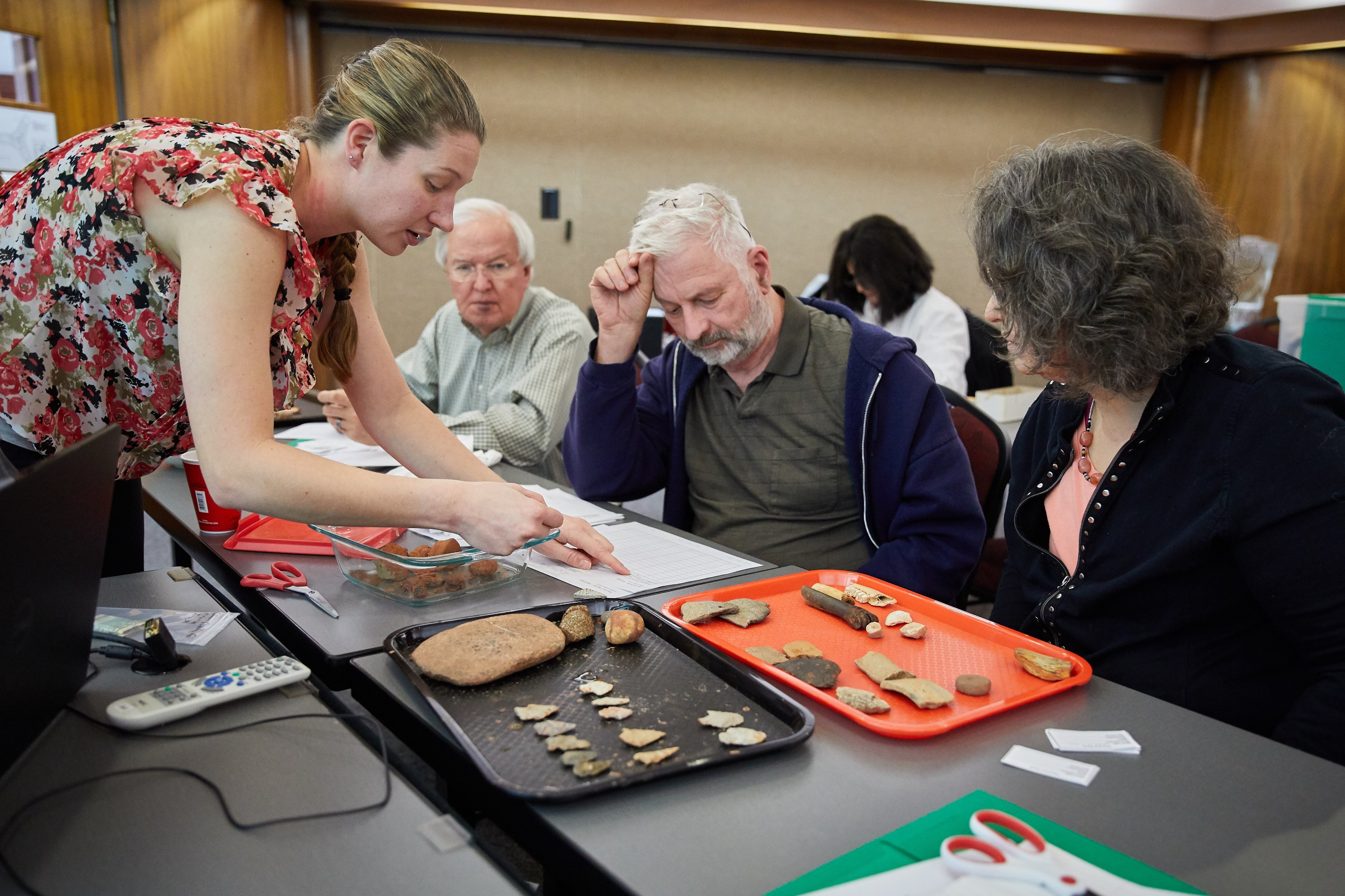 Sarah Luthman teaches workshop participants about curation practices at an Archaeological Skills Workshop in 2018.