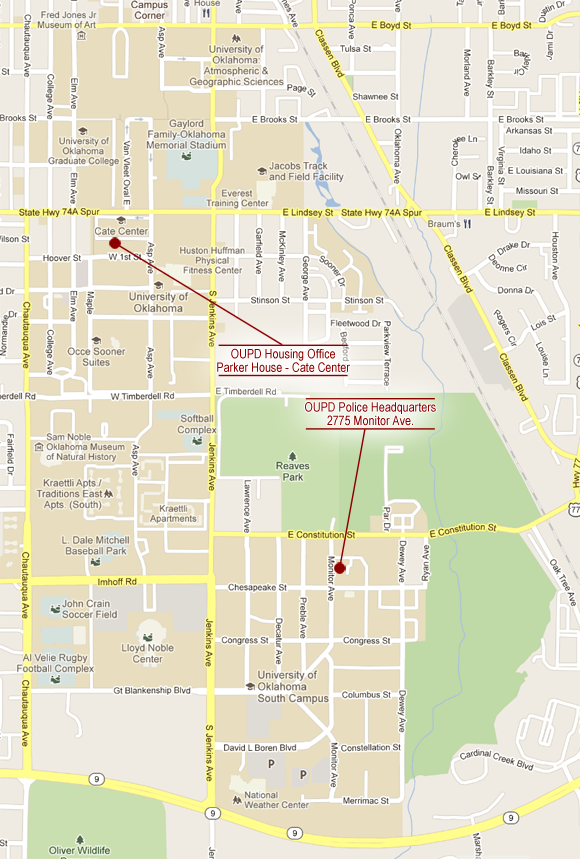 Campus are map showing OUPD HQ and OUPD's Housing Office at Parker House in Cate Center