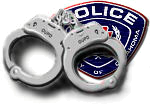 Image: Handcuffs over OUPD police patch
