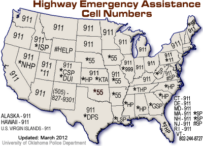 Highway Emergency Assistance Cell Numbers MAP