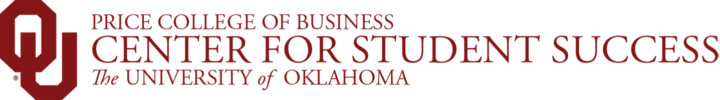 Price College of Business, Center for Student Success, The University of Oklahoma website wordmark