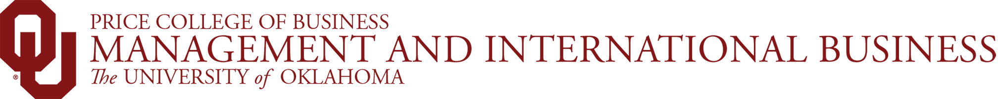 Price College of Business, Management and International Business, The University of Oklahoma website wordmark