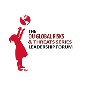 Image of a child tossing a ball, text reads: OU Global Risks & Threat Series Leadership Forum Logo