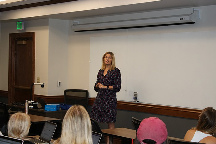 Susan Dell'Osso visits Price marketing operations class