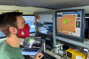 Graduate student Addison Alford is operating the radar
