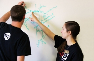 Feature tab image of University College (UC) Tutoring in Human Physiology on whiteboard, Christine Mengis, Peer Learning Assistant