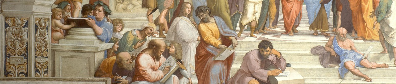 "Detail from Raphael's ""The School of Athens"" (1511):  an image of scholars collaborating across disciplinary (and historical) lines...in writing!"